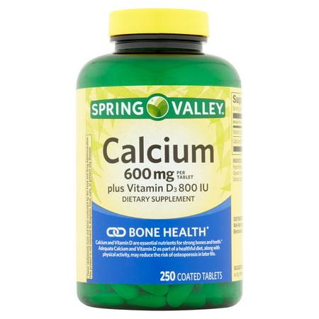 Spring Valley Facile naturel à avaler 600 mg avec vitamine D santé osseuse calcium Complément alimentaire, 250 ct