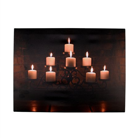 "LED Lighted Flickering Rustic Fireplace Candles Canvas Wall Art 11.75"" x 15.75"""