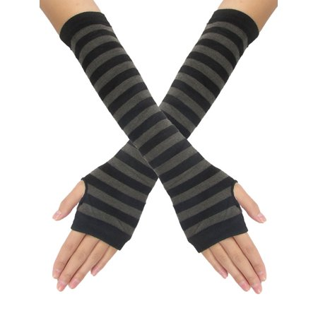 Dark Gray Stripes Black Knitted Lady Fingerless Gloves Pair