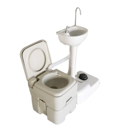 Three Portable Sink - Ktaxon Outdoor Combo with Portable Wash Basin Sink & 5.3 Gallon Outdoor Toilet, for Camping, Flush Wastewater Recycled