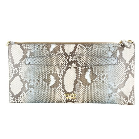 Prada Brown Leather Womens Clutch (Prada Fabric Handbag)