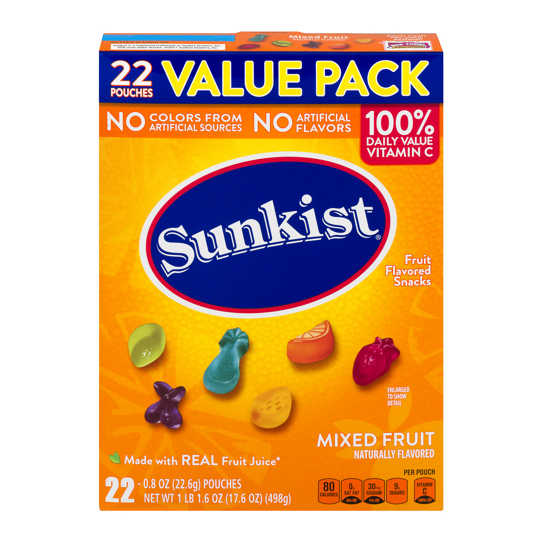Sunkist® Mixed Fruit Fruit Flavored Snacks 22-0.8 oz. Pouches, 0.8 OZ