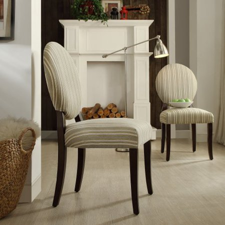 Inspire Q Blanca Round Back Sand Yellow Striped Fabric