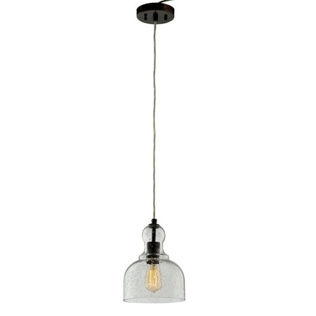 Mini Pendant Light with Handblown Clear Seeded Glass Plating Bronze Finish ()