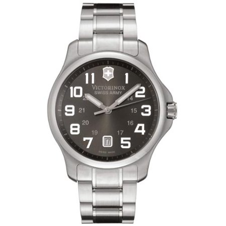 Victorinox Swiss Army 241361 Men's Officer's Charcoal Dial Stainless Steel Watch
