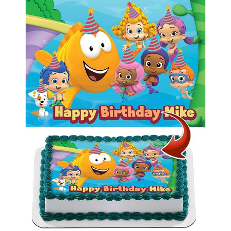 Bubble Guppies Personalized Cake Topper Icing Sugar Paper A4 Sheet Edible Frosting Photo Birthday Cake Topper 1/4](Bubble Guppies Decorations)