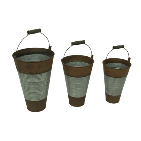 Ribbed Metal 3 Piece Rustic Pail Set with Wood Grip Handles