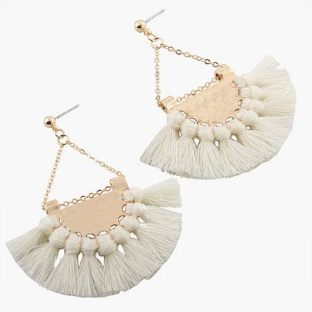 Gprince European Fashion Fan-shaped Gothic Tassel Earrings Ear Drops Women Jewelry White