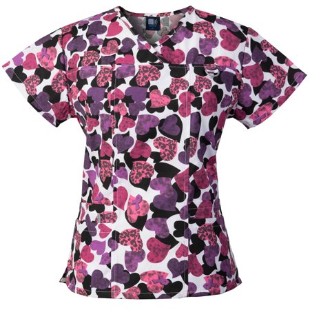 Medgear Womens Printed Scrub Top, ID loop & 4 Pockets Fashion Medical Uniform 1039P-HEPI