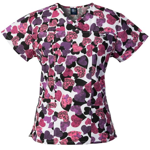Medgear Womens Print Scrub Top ID loop /& 4 Pocket Fashion Medical Uniform FPGO