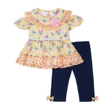Short Sleeve Ruffled Printed Chiffon Top & Capri, 2pc Outfit Set (Baby Girls & Toddler Girls) (Baby Girl Golf Outfit)