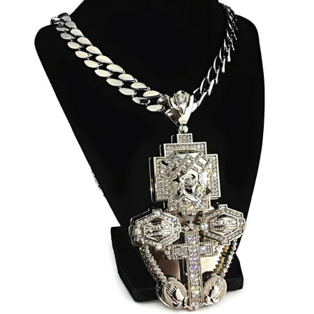 - Huge Jesus Piece Iced Out Last Supper Cross Combo 3D Pendant Silver Finish 33