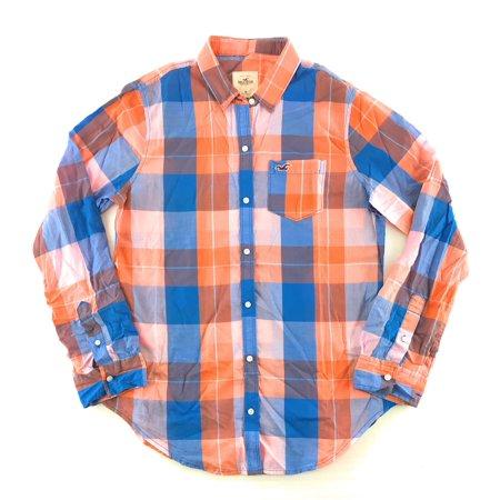 Hollister Irrigator Sleeve - Hollister Women's Long Sleeve Woven Button Up Shirt Blue Orange Plaid Medium