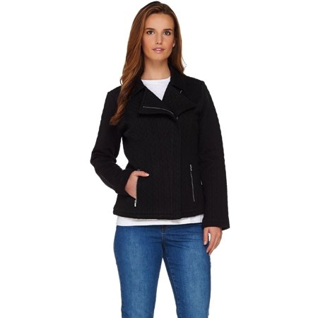 Isaac Mizrahi Quilted Knit Motorcycle Jacket
