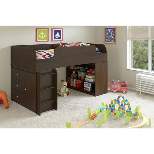 Cosco Elements Loft Bed Twin with 3-Shelf Bookcase & 3-Drawer Organizer, Resort Cherry