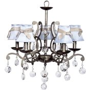 5-Light Chandelier with Gray Custom Crystals
