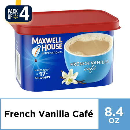 (4 Pack) Maxwell House International French Vanilla Cafe Instant Coffee, 8.4 oz