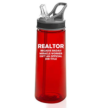 22 oz. Sports Water Bottle Travel Mug Cup With Flip Up Straw Realtor Real Estate Agent Broker Miracle Worker Job Title Funny (Red) (Title 9 Sports)