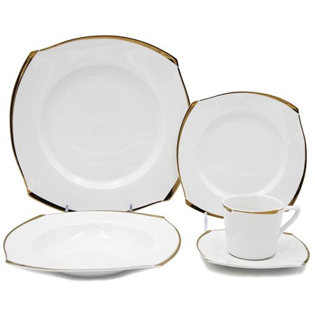 Royalty Porcelain Fancy Square Design 5-pc Place Setting 'Golden Wave', Premium Bone China