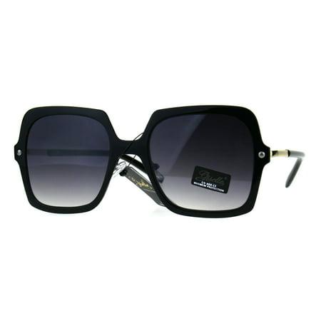 Womens Designer Mod Oversize Rectangular Diva Fashion Sunglasses Black (Designer Sunglasses Auction)