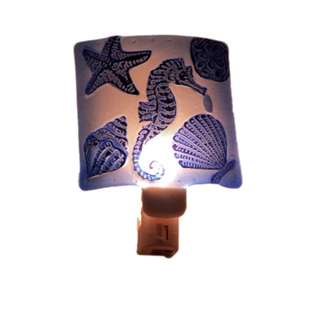 Blue Seahorse Hand Painted Art Glass Plug In Night Light - image 3 of 3