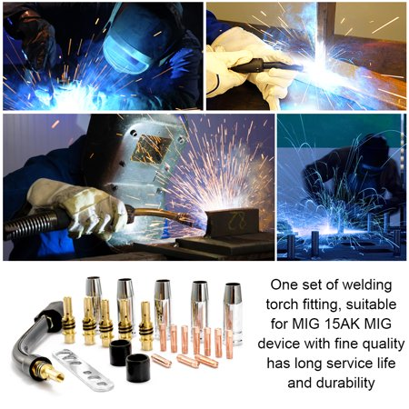 24PCS/Set 15AK Torch Consumable Electrode Shield Cup Link Rod Tips Goose Neck Bend For MIG Welding Machine - image 3 of 6