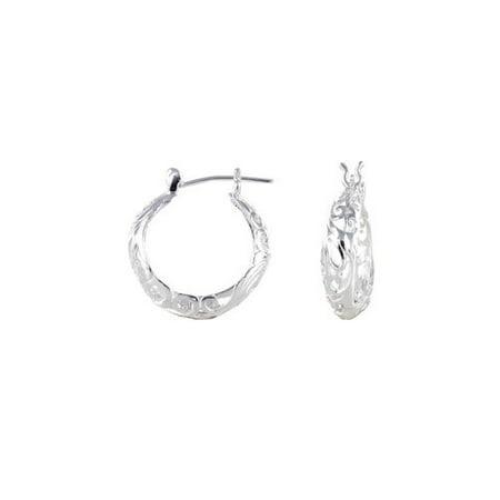 Filigree Hanging Earrings (Sterling Silver Round Filigree Hoop Earrings )