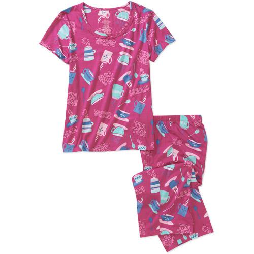 Women's Crew Neck Top and Capri Sleep Pant Set