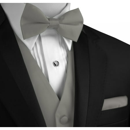 Italian Design, Men's Formal Tuxedo Vest, Bow-Tie & Hankie Set for Prom, Wedding, Cruise in Silver](Silver Vest)