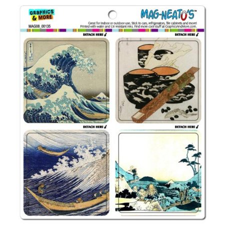 Refrigerator Magnet Set - Graphics and More Famous Hokusai Paintings Japanese Mag-Neato's Automotive Car Refrigerator Locker Vinyl Magnet Set