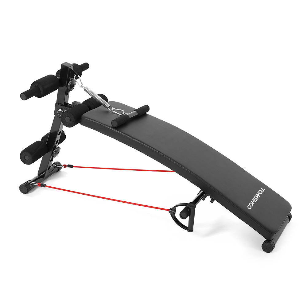 TOMSHOO Adjustable Arc-Shaped Decline AB Bench Abdominal Crunch Sit Up Training Board