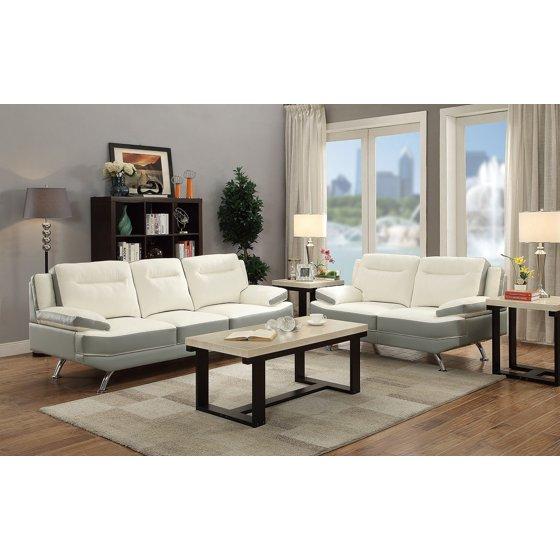 Modern Fantastic Living Room Furniture 2pc Sofa Set White