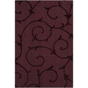 "Swatch of 6"" x 6"" Swirls & Twirls Plum Wine Purple Wool Area Throw Rug Corner Sample"