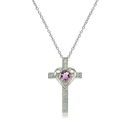 - Sterling Silver Gemstone Birthstone Heart in Cross Necklace