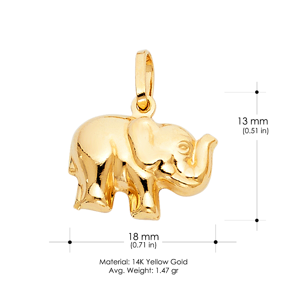 14K Yellow Gold Elephant Strength /& Luck Charm Pendant with 0.8mm Box Chain Necklace