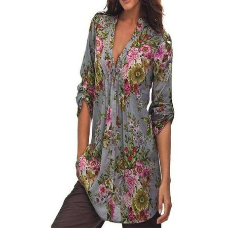 V-neck Vintage Tunic - Hot Fashion Women Vintage Floral Print V-neck Tunic Tops Women's Fashion Plus Size Tops