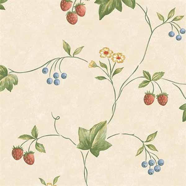 Norwall Wallcoverings KE29900 Kitchen Elements Trellis Trail Wallpaper Red, Green, Blue, Beige