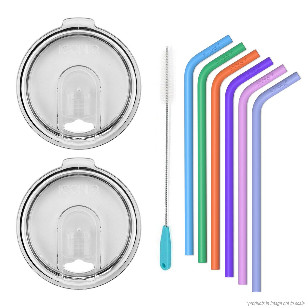 2 Replacement Lids + Straw Kit for 30oz Tumblers | Ozark Trail and Yeti Rambler Compatible (Clear) by ICONIQ Bottle