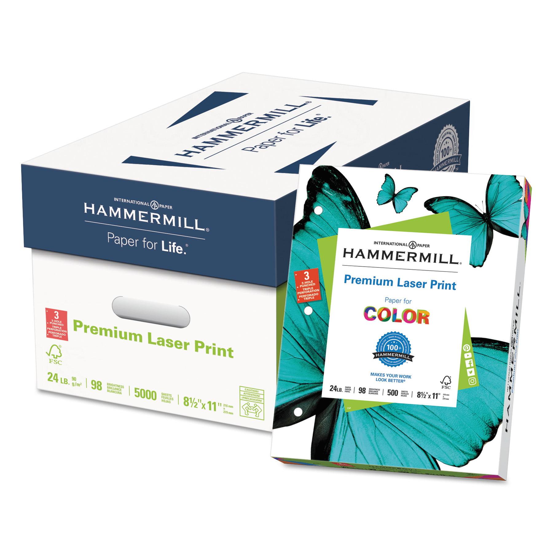 Hammermill Premium Laser Paper, 3-Hole Punch, 98 Bright, 24lb, Ltr, White, 500 Sheets/Ream -HAM107681