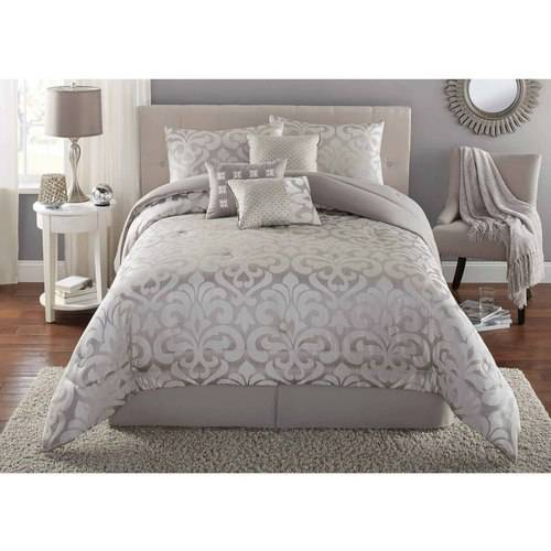 Mainstays 7-Piece Damask Bedding Comforter Set