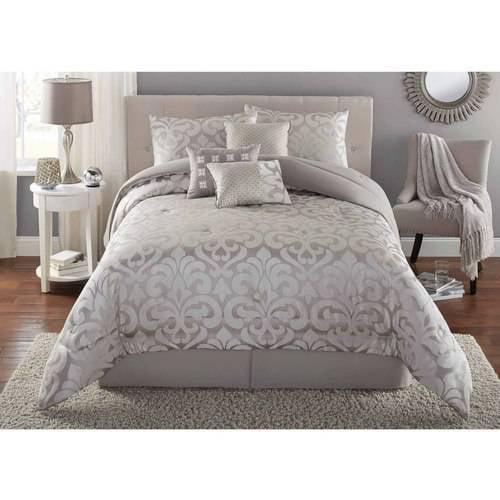 Mainstays 7 Piece Damask Bedding Comforter Set Walmart Com