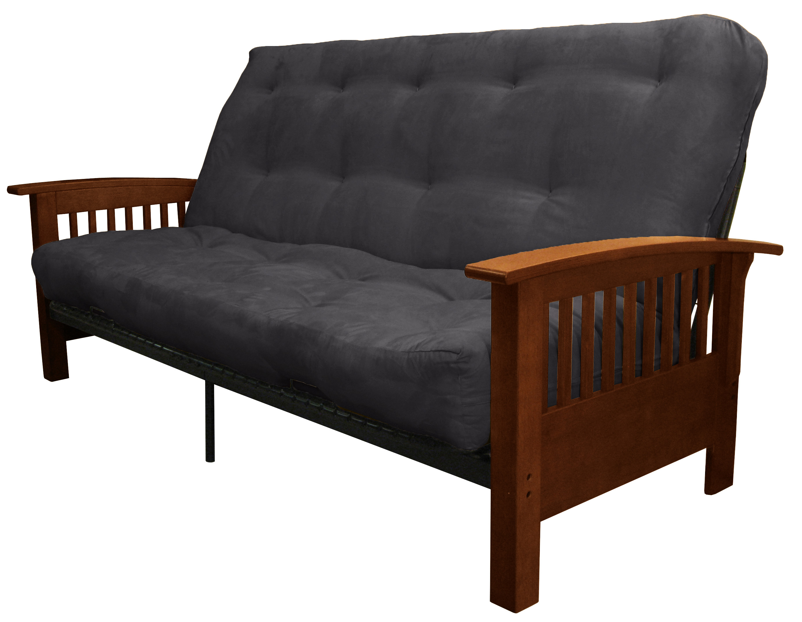 Morris Mission Style True 8 Inch Loft Cotton/Foam Futon Sofa Sleeper Bed,  Queen Size, Walnut Arms, Suede Slate Grey   Walmart.com