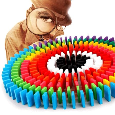 Super Domino Blocks Set, 360 PCS Colorful Wooden Domino Blocks Racing Toy Game Racing Educational Toys for Birthday Party Racing Fiddle Blocks