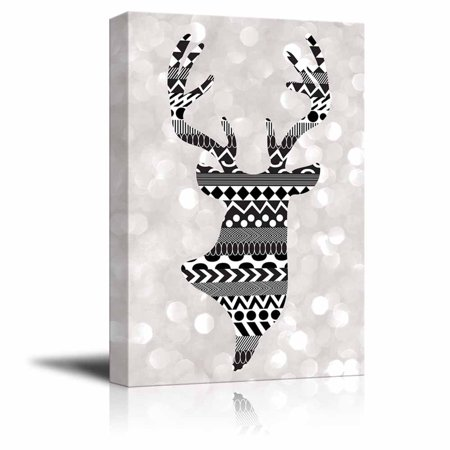 Deer Pattern - wall26 - Rich Black Deer Silhouette with zentagle Patterns on a Silver Colored Bokeh Background - Canvas Art Home Decor - 12x18 inches