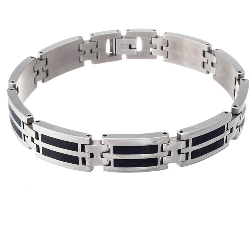 Men's Stainless Steel with Onyx Link Bracelet, 8.5