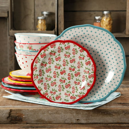 The Pioneer Woman Timeless Floral & Retro Dot 12-Piece Dinnerware Set - Porcelain Plates