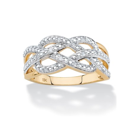 Diamond Accent Infinity Crossover Ring in Solid 10k Yellow Gold ()