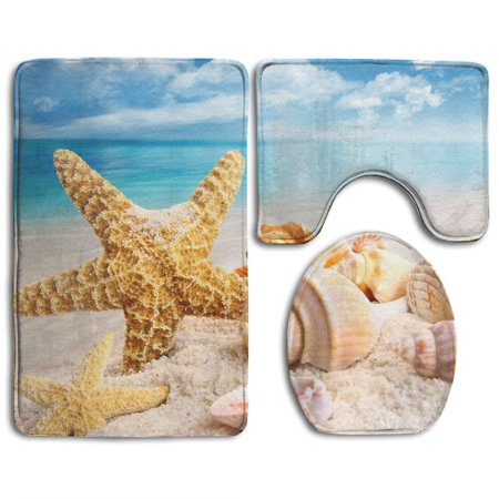 EREHome Sea Star 3 Piece Bathroom Rugs Set Bath Rug Contour Mat and Toilet Lid Cover - image 1 de 2