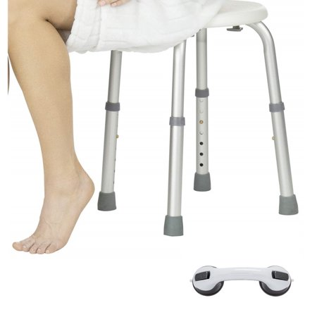 Tool-Free Assembly Adjustable Shower Stool Tub Chair and Bathtub Seat Bench with Anti-Slip Rubber Tips and Sucker Armrest for Safety and Stability