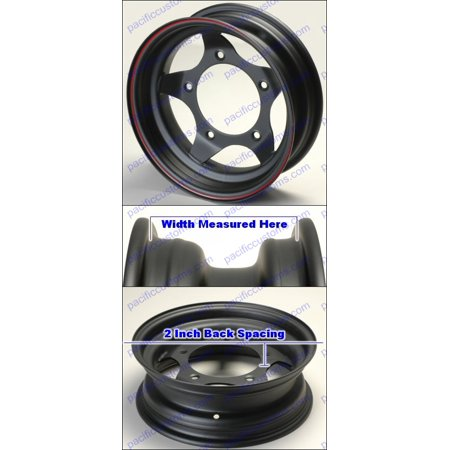Flat Black Baja Steel Wheel 8 Inch Wide 15 Inch Diameter 5 Lug 205Mm Bolt Pattern 2 Inch Back Space
